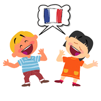 kids communicate and converse in French  during their french lessons in paris